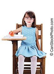 學校, 孩子, 書桌