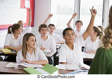 學校, 學生, 回答問題, 高檔