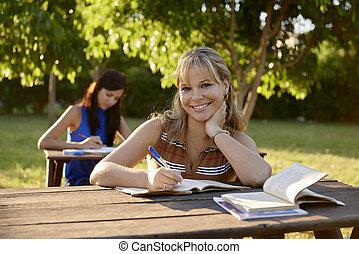 學校, 學習, 年輕, 教科書, 學院, 考試, 婦女