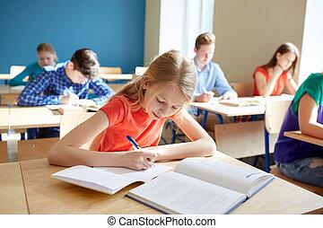 學校, 寫, 書, 學生, 測試, 女孩