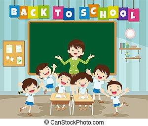 學校, 小學生, 背, 主要