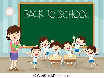 學校, 小學生, 背, 老師