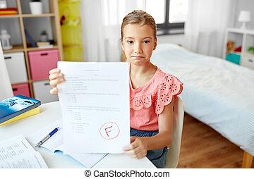 學校, 悲哀, 失敗, 學生, 測試, 家, 女孩