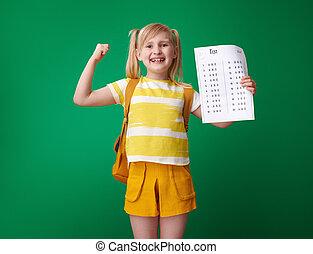 學校, 等級, 顯示, 二頭肌, 好极了!, 測試, 微笑的 女孩