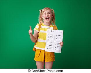 學校, 等級, 顯示, 向上, 拇指, 好极了!, 測試, 微笑的 女孩
