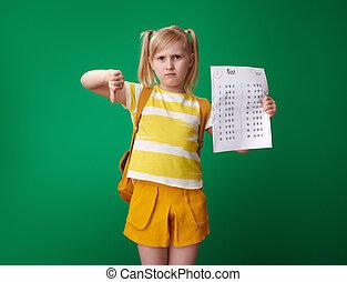 學校, 等級, 顯示, 悲哀, 下來, 坏, 拇指, 測試, 女孩