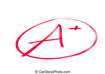 學校, 考試, 等級, a+, 好极了!, (plus)