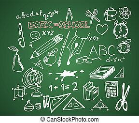 學校, 集合, 心不在焉地亂寫亂畫, -, 背, 矢量, 說明