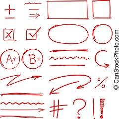 學校, 集合, 等級, 結果, 標誌, 手, 畫