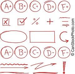 學校, 集合, 等級, 結果, 標誌, 重要部份, 紅色