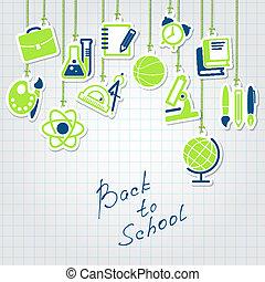學校, 集合, 背, 圖象