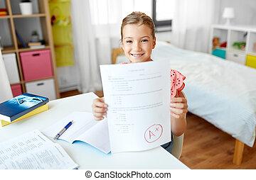 學校, 馬克, 女孩, 家, 學生, 測試, 好