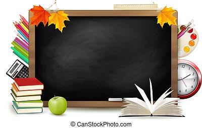 學校, school., 黑板, 背, supplies., vector.