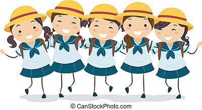 學生, 女孩, 日語