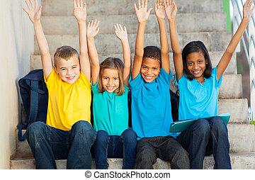學生, 提高, 愉快, 主要, 手