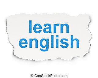 學習, 紙, 背景, 英語, 教育, concept: