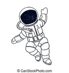 宇航員, 矢量, 心不在焉地亂寫亂畫