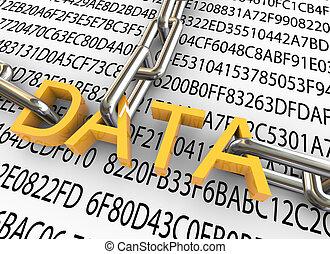安全, 概念, 數据, 3d