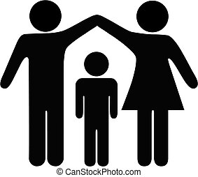 安全, 母親, 父親, 家庭, 孩子
