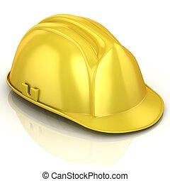 安全, 黃色, 鋼盔, 被隔离