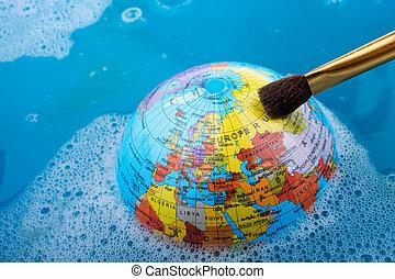 安置, 頂部, 刷子, 全球, 畫