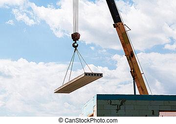 安裝, 建造者, 具体的建筑物, 工人, 平板, 建設, 面板, 站點, 地板