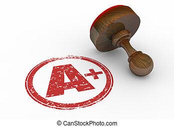 完美, 等級, 插圖, 郵票, 得分, 加上, 信, 3d