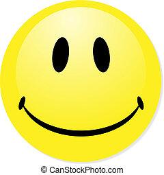 完美, badge., 笑臉符, 黃色, 按鈕, 矢量, 圖象, 混合, shadow., emoticon.