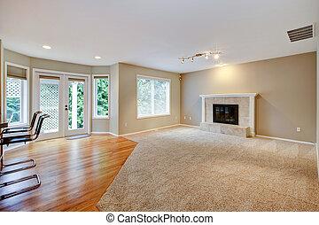 客廳, 大, 明亮, 新, fireplace., 空