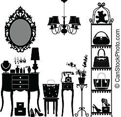 家具, 婦女, 房間, 化妝品