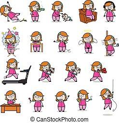 家庭主婦, 概念, 矢量, 說明, -, 集合, 喜劇演員