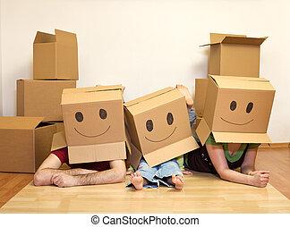 家庭, 夫婦, 笑臉符, -, 移動, 孩子