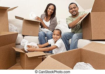 家庭, 房子, 美國人, 箱子, 移動, african, 打開