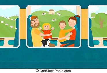 家庭, 旅行, 一起, 幼小的孩子, train.