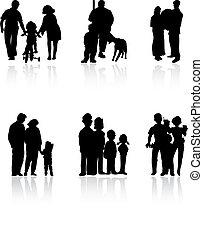 家庭, colour., 插圖, 黑色半面畫像, 矢量, 黑色