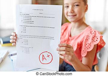 家, 女孩子學生, 測試, 學校, 馬克, 好