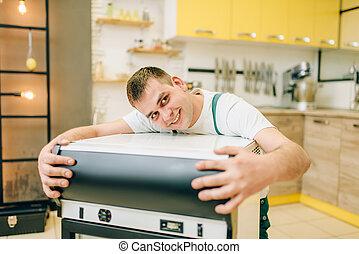 家, 擁抱, 工人, 冰箱, 制服