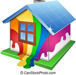 家, 設計, 畫