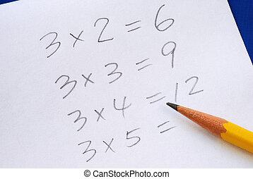 實踐, 桌子, 乘法