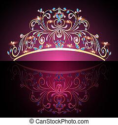 寶貴, 金, tiara, 婦女, 石頭, 王冠