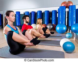封印, pilates, 組練習, 人們