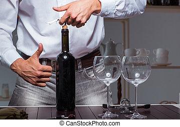 專業人員, 品嘗, sommelier, 酒, 餐館