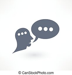 對話, 通訊, 標識語, icon., design., 閒談