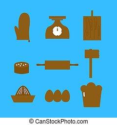對象, 廚房, retro, 藍色, 設計