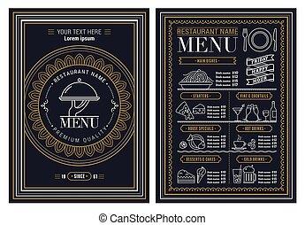 小冊子, 樣板, 矢量, 餐館, 設計, 菜單
