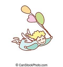 小天使, 飛行, 插圖, 背景, 白色, 气球