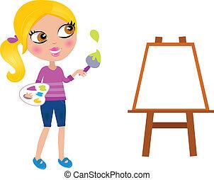 小女孩, 畫家, 刷子, 愉快, 畫, 卡通