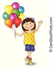 小女孩, stampa, 气球
