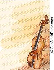小提琴, 手工造, 背景, 筆記。, 音樂