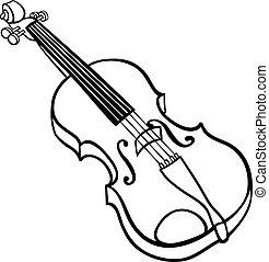 小提琴, 著色, 卡通, 插圖, 頁